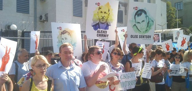 Rally held outside Russian Embassy in support of political prisoners