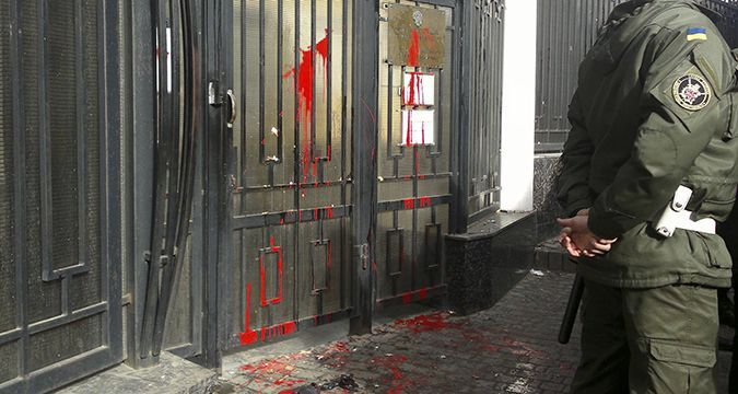 Russian Consulate in Odesa pelted with paint