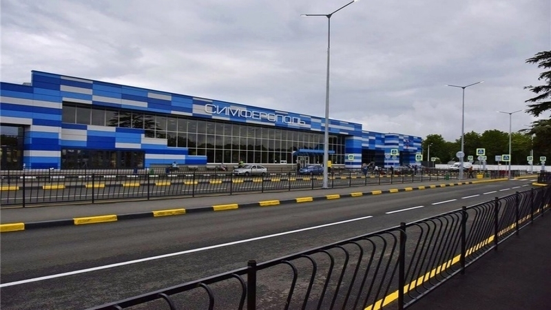 Simferopol Airport fenced with barbed wire