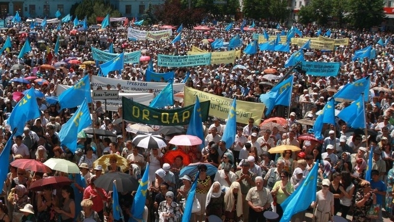 Crimean Tatars held mourning meeting at administrative border with Crimea