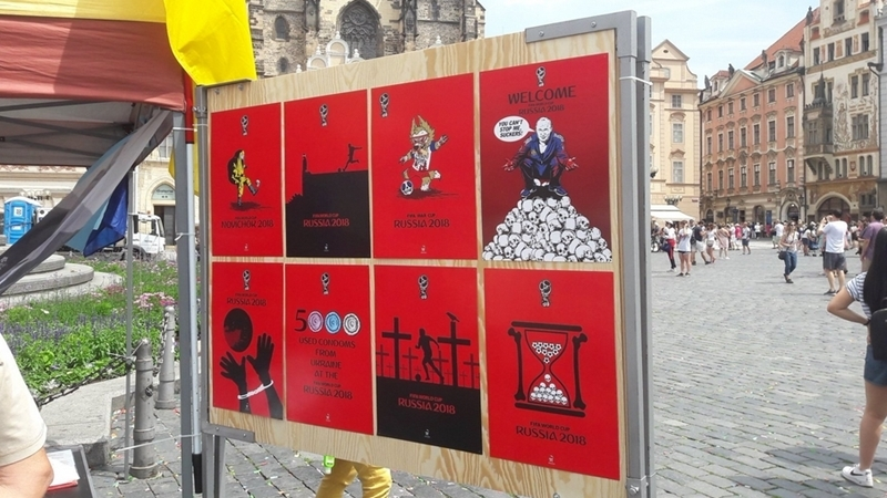 World Cup 2018 Boycott: Exhibition of posters by Ukrainian artist in Prague